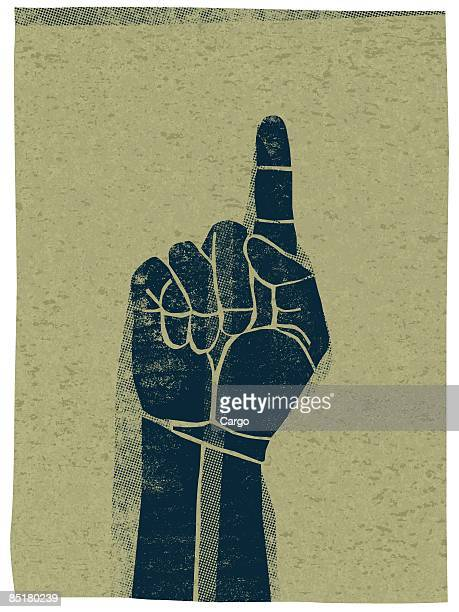 Illustration of a hand pointing upwards