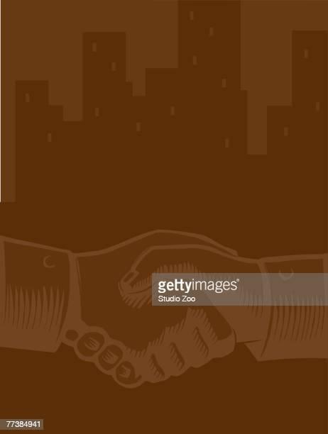illustration of a handshake against a city skyline - braun stock-grafiken, -clipart, -cartoons und -symbole