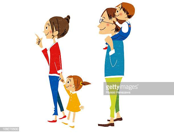 Illustration of a happy family - mother father and two children