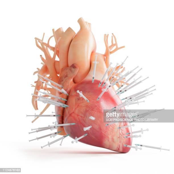 ilustraciones, imágenes clip art, dibujos animados e iconos de stock de illustration of a heart spiked with syringes - cardiólogo