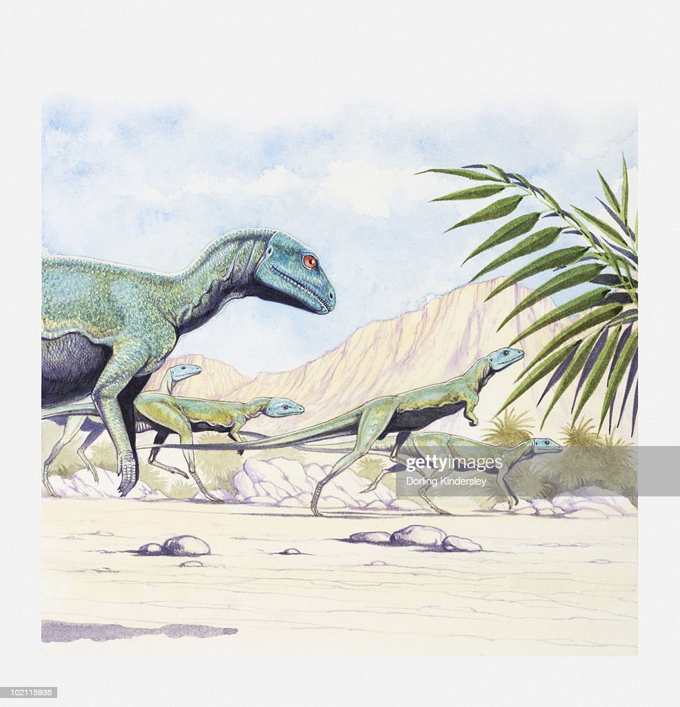 Illustration of a herd of Lesothosaurus on the move, early Jurassic period : Ilustración de stock