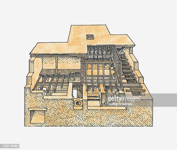 illustration of a house, mohenjo-daro, indus valley - ancient civilization stock illustrations, clip art, cartoons, & icons