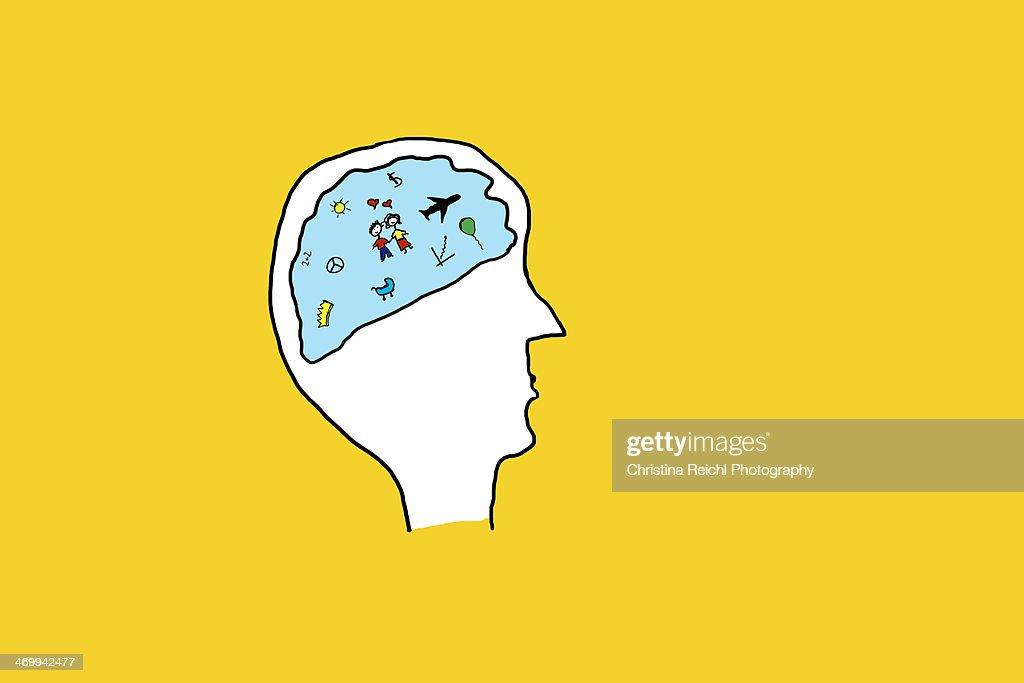 Illustration of a human brain : Stock Illustration
