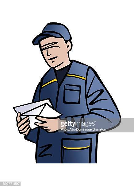 illustrations, cliparts, dessins animés et icônes de illustration of a mailman - facteur