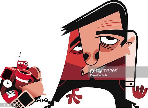 ilustrações de stock, clip art, desenhos animados e ícones de illustration of a man chained to a pile of possessions - buchinho