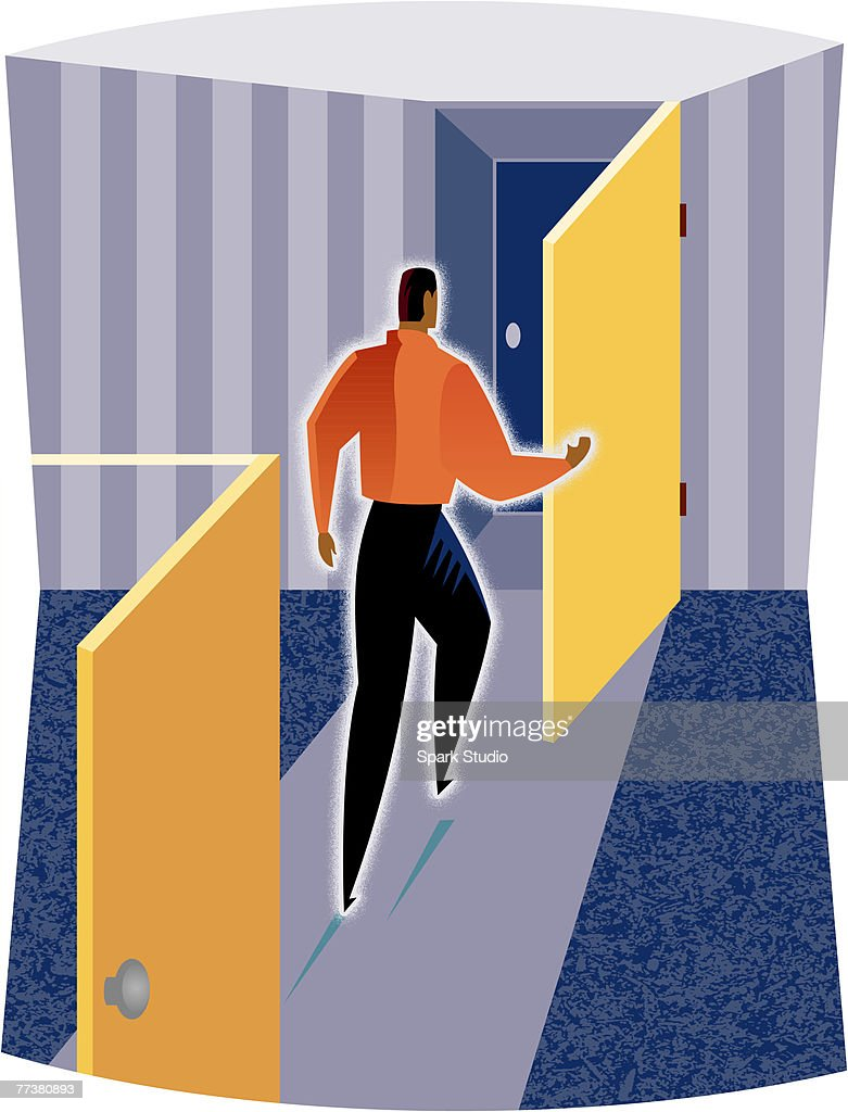 Illustration of a man going through doors : Illustration