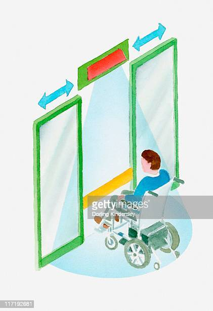 illustration of a man in a wheelchair approaching an automatic door with sensor beam - disabled access点のイラスト素材/クリップアート素材/マンガ素材/アイコン素材