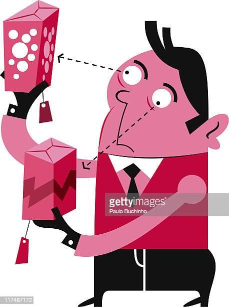 ilustrações de stock, clip art, desenhos animados e ícones de illustration of a man looking at gift boxes - buchinho