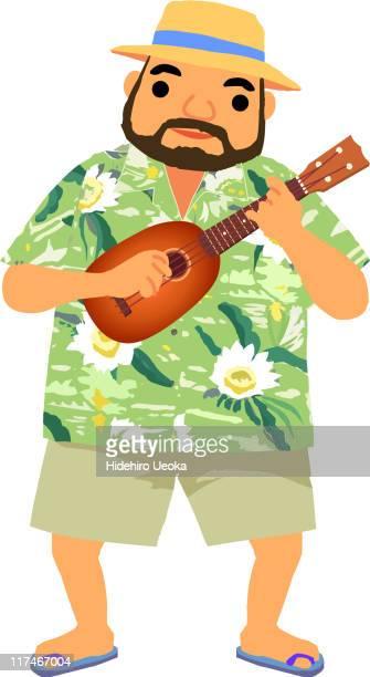 illustration of a man playing the ukulele - hawaiian shirt stock illustrations