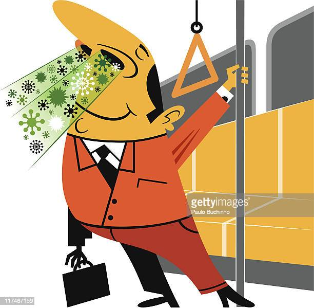 illustration of a man releasing germs on a train - sneezing stock illustrations, clip art, cartoons, & icons