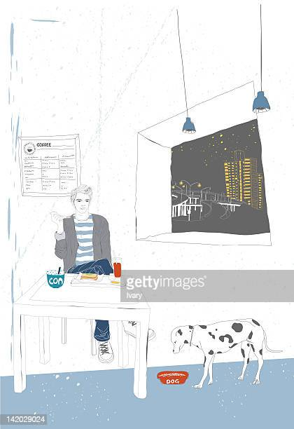 illustration of a man sitting and having food accompanied by his pet - dog food stock illustrations, clip art, cartoons, & icons