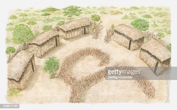 ilustraciones, imágenes clip art, dibujos animados e iconos de stock de illustration of a manyatta where a maasai family would live. - masai