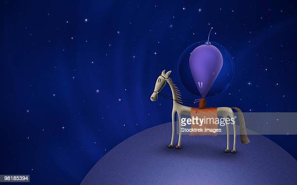 illustration of a martian riding a horse atop a planet in outer space. - apex legends点のイラスト素材/クリップアート素材/マンガ素材/アイコン素材