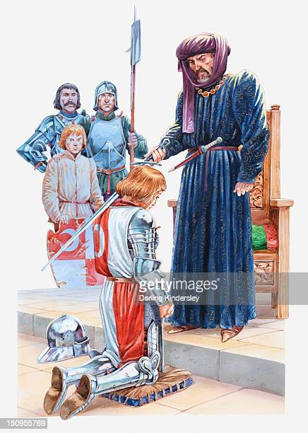 Illustration of a medieval squire being dubbed a knight