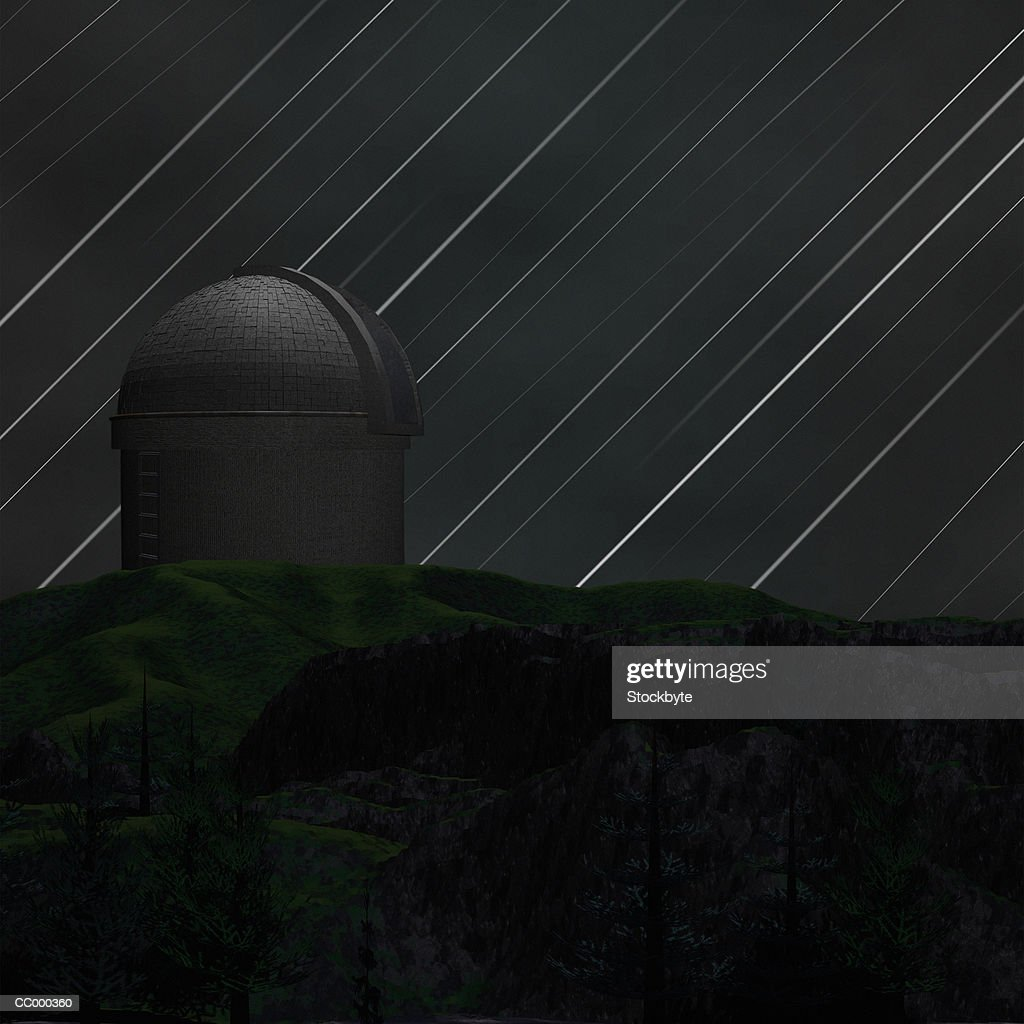 Illustration of a Meteor Shower and an Observatory : stock illustration