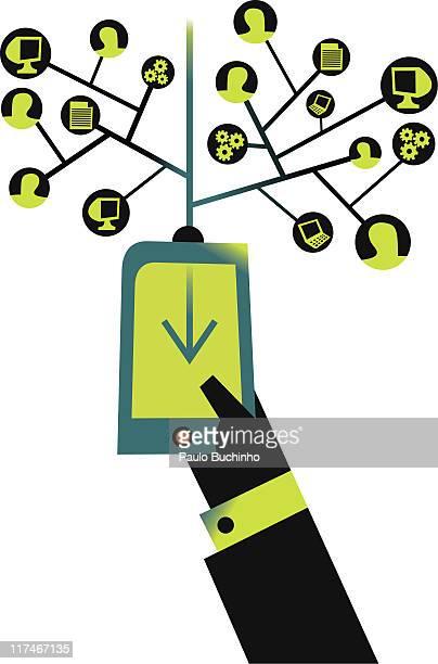 ilustrações de stock, clip art, desenhos animados e ícones de illustration of a mobile phone with a network of uses - buchinho