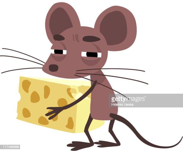 Illustration of a mouse carrying a big piece of cheese
