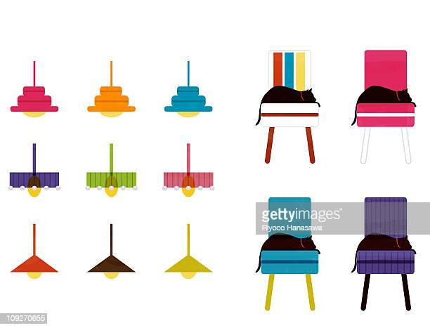 Illustration of a pattern of lighting fixtures and cats on upholstered chairs