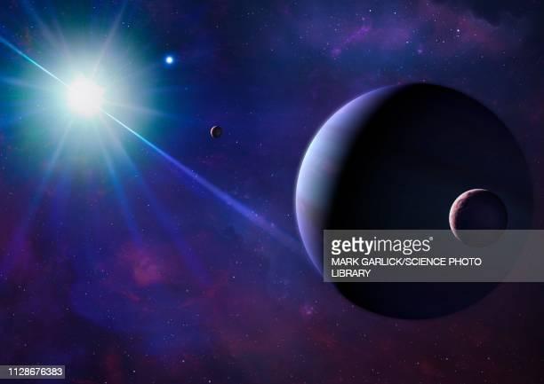 illustration of a planet orbiting a pulsar - extrasolar planet stock illustrations