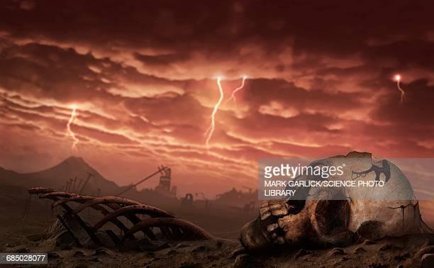 illustration of a post-apocalyptic earth - rain stock illustrations