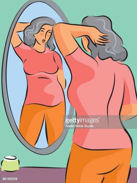 illustration of a pudgy woman looking at herself in the mirror - women's issues stock illustrations, clip art, cartoons, & icons
