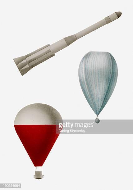 illustration of a rocket, radiosonde weather balloon, and hot air balloon - weather balloon stock illustrations