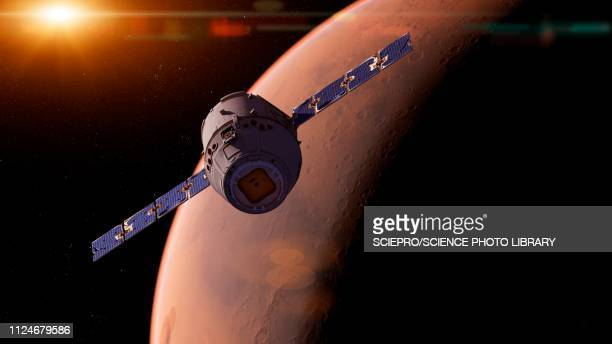 illustration of a satellite in front of mars - planet space stock illustrations