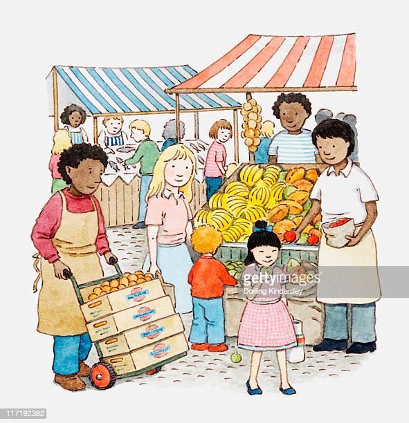 ilustraciones, imágenes clip art, dibujos animados e iconos de stock de illustration of a scene at an open-air market - puesto de mercado