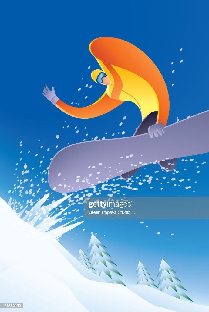 Illustration of a snowboarder : Illustration