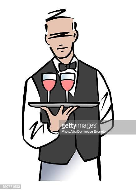 Illustration of a sommelier or waiter serving wine