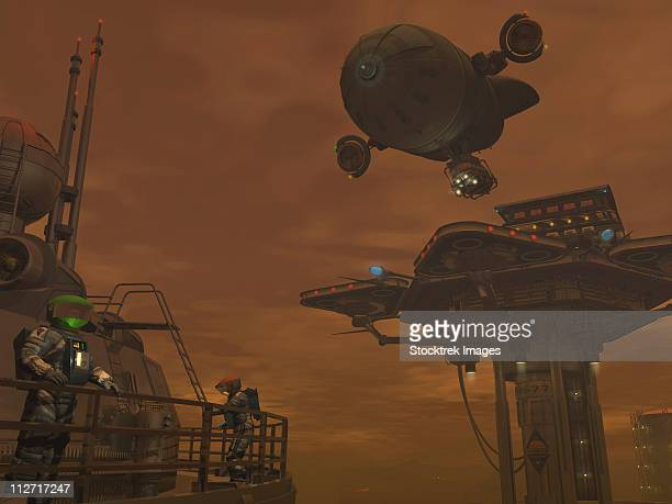 Illustration of a spacecraft and astronauts at a mining site on Saturn's moon Titan.