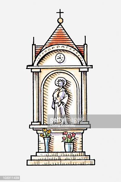 ilustrações de stock, clip art, desenhos animados e ícones de illustration of a statue of saint on religious monument - nicho