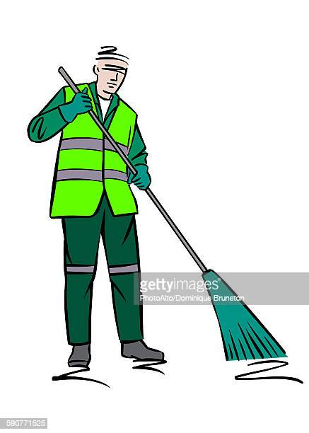 illustration of a street sweeper - street sweeper stock illustrations