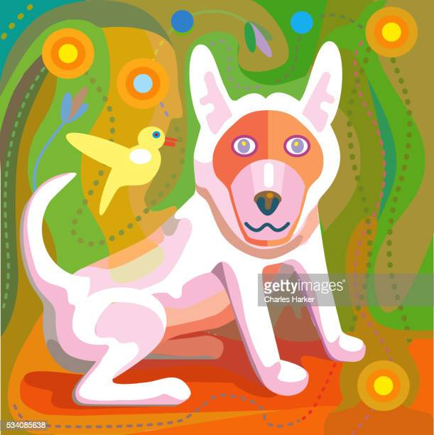 Illustration of a White Dog with green background