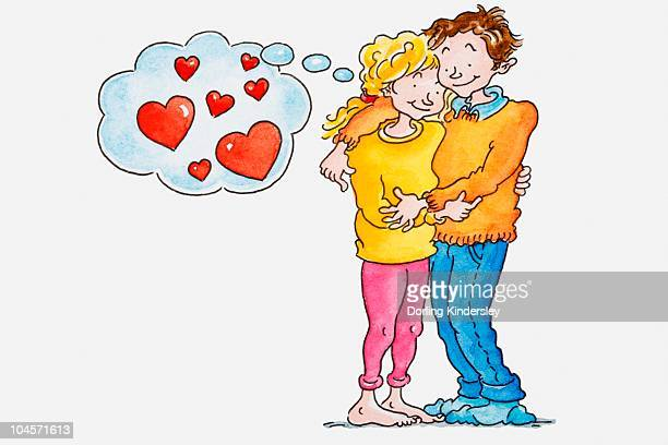 Illustration of a woman and man embracing each other, thought bubble with hearts inside above the woman's head