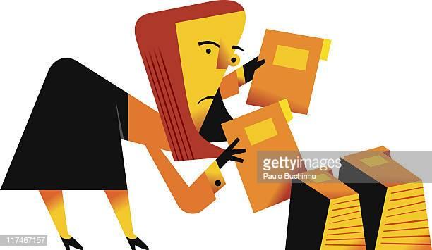 ilustrações de stock, clip art, desenhos animados e ícones de illustration of a woman filing folders - buchinho