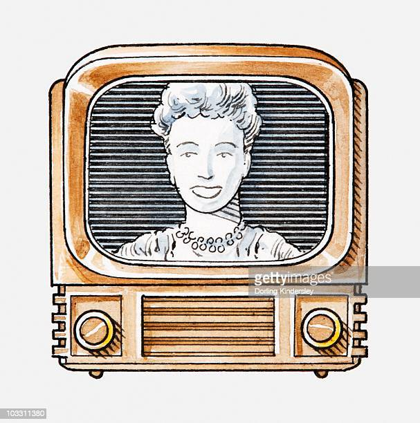 Illustration of a woman looking into camera on old-fashioned TV set
