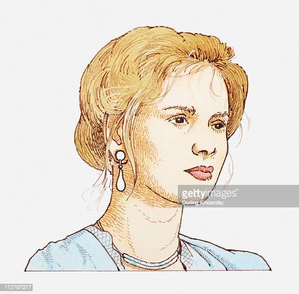 Illustration of a woman wearing earrings and her hair up, portrait