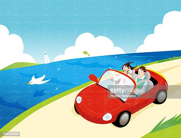 Illustration of a young couple driving by the sea side
