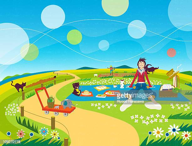 illustration of a young woman having a picnic - picnic blanket stock illustrations, clip art, cartoons, & icons