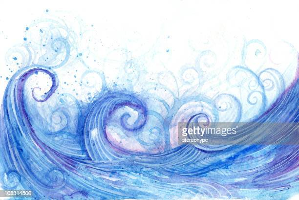 Illustration of abstract waves curling blue violet