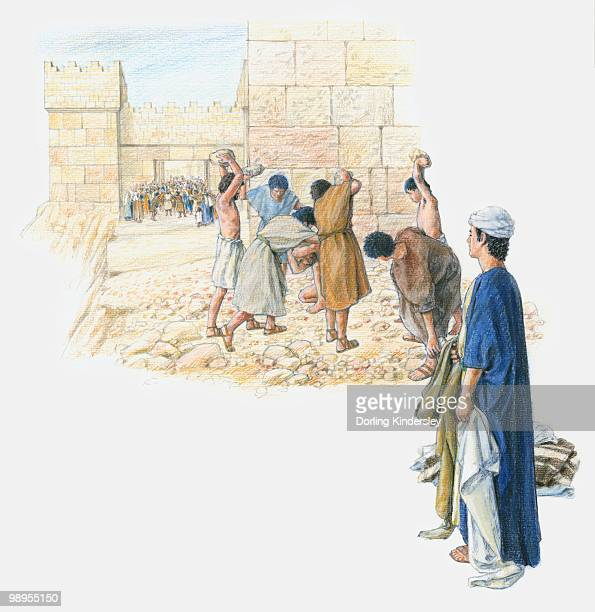 illustration of accusers stoning stephen to death within city walls as large crowd looks on - stehen stock illustrations
