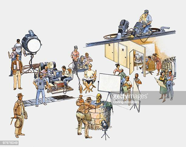 illustration of actors, technicians, and production team on film set - camera operator stock illustrations, clip art, cartoons, & icons
