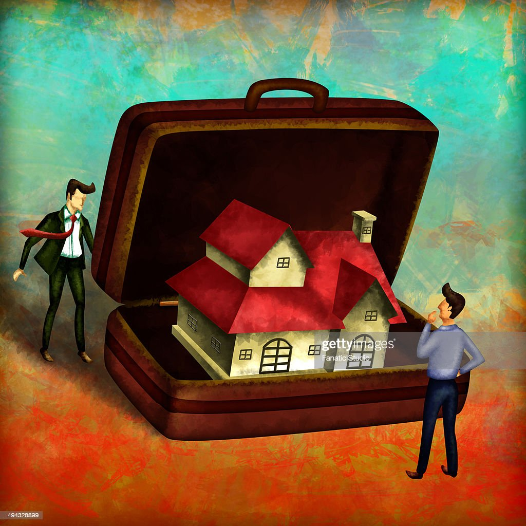 Illustration of agent with model house in briefcase depicting concept of real estate services : stock illustration