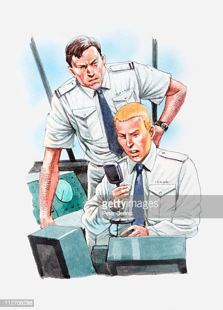 Illustration of air traffic control operator using transceiver