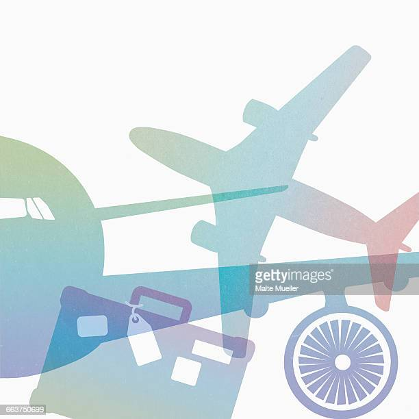 illustration of airplanes and suitcase against white background - vacations stock illustrations