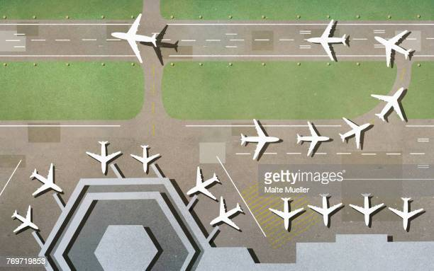 illustration of airplanes on runway at airport - road marking stock illustrations