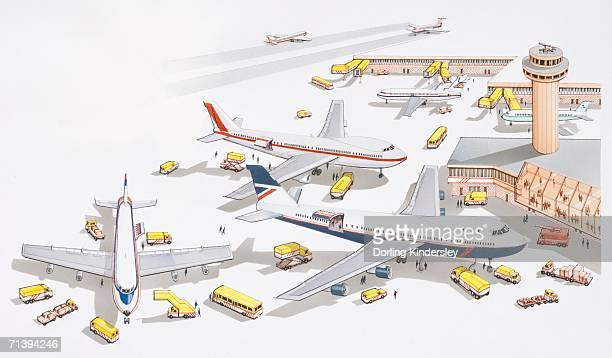 Illustration of airport passenger terminal, support services attending to grounded planes, control tower overlooking, firefighters nearby for refuelling, yellow boarding ramp, clearly visible yellow support vehicles.