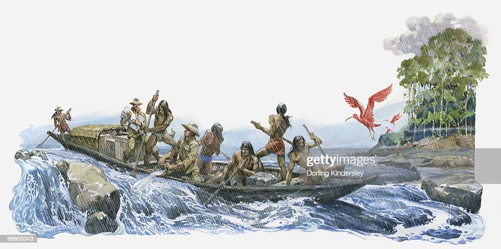 Illustration of Alexander von Humboldt and Aime Bonpland with South American natives bailing water from boat on River Orinoco rapids : stock illustration