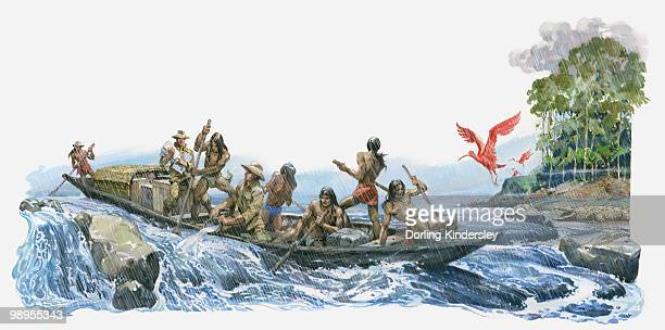 illustration of alexander von humboldt and aime bonpland with south american natives bailing water from boat on river orinoco rapids - rapid stock illustrations